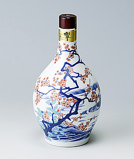 有田焼 色絵梅流水文瓶